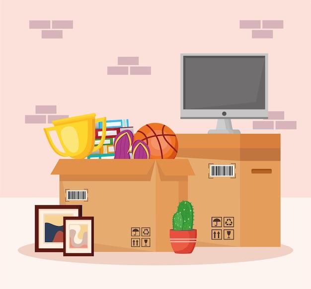 Oggetti in movimento nell'illustrazione degli imballaggi