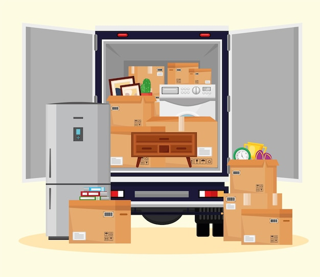 Oggetti in movimento nell'illustrazione del camion