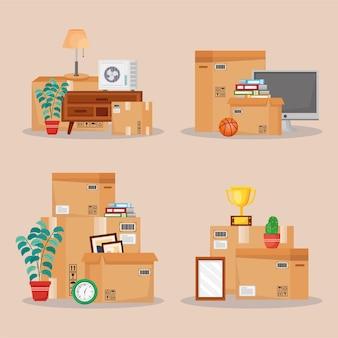 Illustrazione di oggetti e scatole in movimento