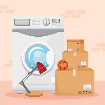 Illustrazione della lavatrice in movimento