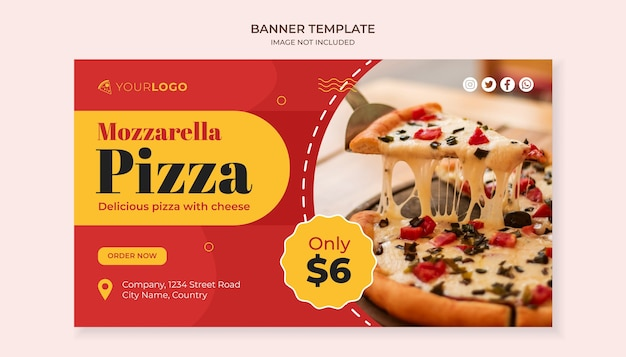 Modello di banner cibo pizza mozzarella