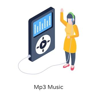 Lettore di canzoni di illustrazione isometrica di musica mp3