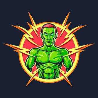 Mr green flash esport logo illustrazione