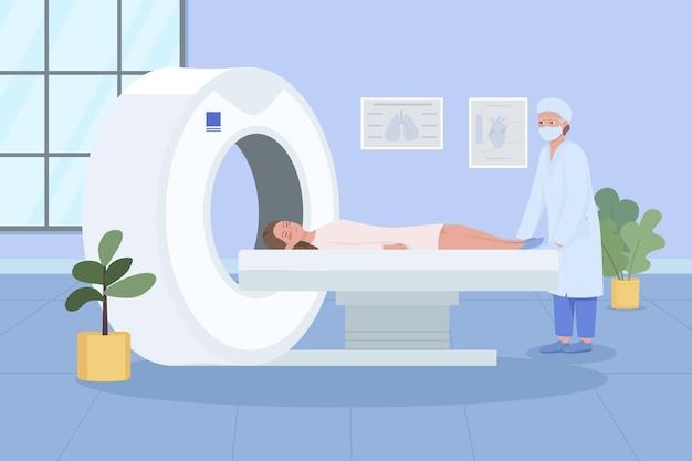 Scansione mri piatta. monitoraggio sanitario. diagnostica della malattia. tecnologia ad ultrasuoni. paziente in visita dal medico 2d cartoon