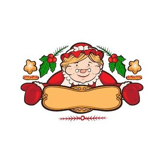 Mascotte del logo iconico di mrs claus bakery