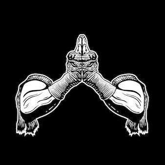 Le mani in bianco e nero di muay avvolgono il disegno