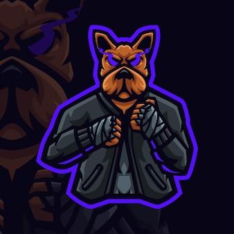 Logo mascotte cane muaythai per giochi twitch streamer giochi esports youtube facebook Vettore Premium
