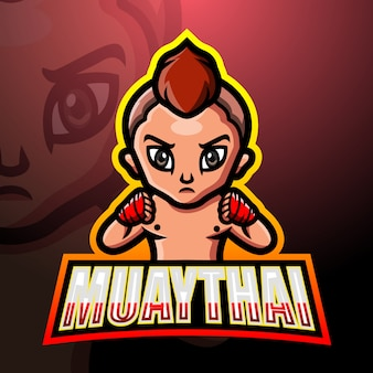 Muaythai mascotte esport logo design