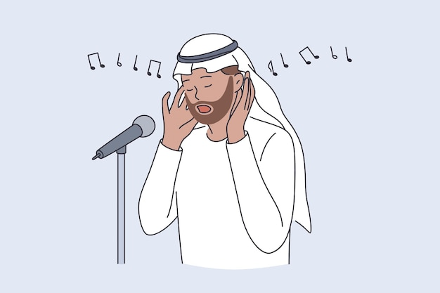 Muezzin e concetto di cultura islamica. man persona reciter calling for pray or called adhan cantando una canzone religiosa illustrazione vettoriale