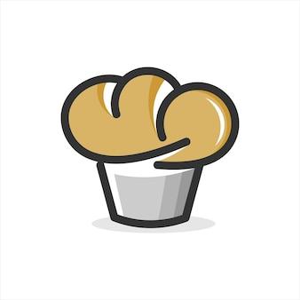 Muffin cake icona panetteria arte vettoriale