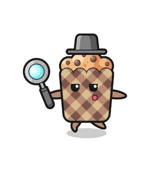Personaggio dei cartoni animati di muffin che cerca con una lente d'ingrandimento, design carino