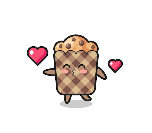 Muffin personaggio dei cartoni animati con gesto di bacio, design carino