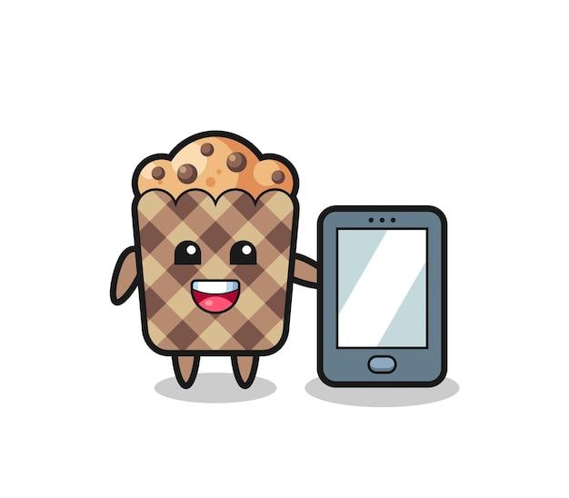 Fumetto dell'illustrazione del muffin che tiene uno smartphone, design carino