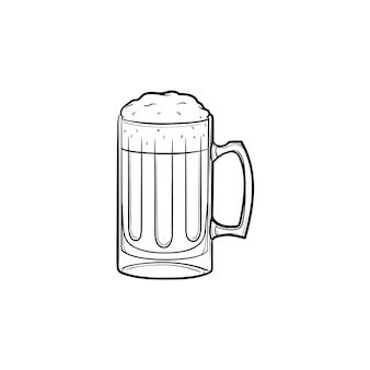 Boccale di birra icona di doodle di contorni disegnati a mano. illustrazione di schizzo di vettore del boccale di birra con schiuma per stampa, web, mobile e infografica isolato su priorità bassa bianca.