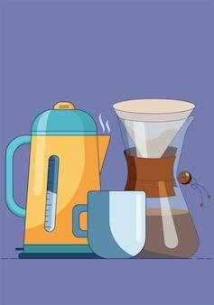 Tazza con sacchetti filtro caraffa caffè caldo e bollitore elettrico
