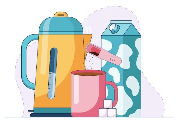 Tazza con bevanda calda a base di caffè istantaneo, zollette di zucchero e latte davanti a kattle con acqua bollente