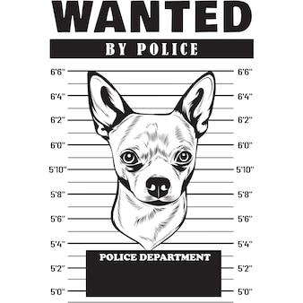 Foto segnaletica del cane chihuahua che tiene uno striscione dietro le sbarre
