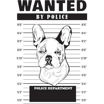 Foto segnaletica di un cane bulldog francese che tiene uno striscione dietro le sbarre