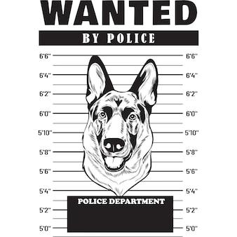 Foto segnaletica del cane pastore tedesco che tiene uno striscione dietro le sbarre