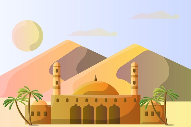 Paesaggio dell'illustrazione dell'egitto della moschea di muhammad ali per un'attrazione turistica