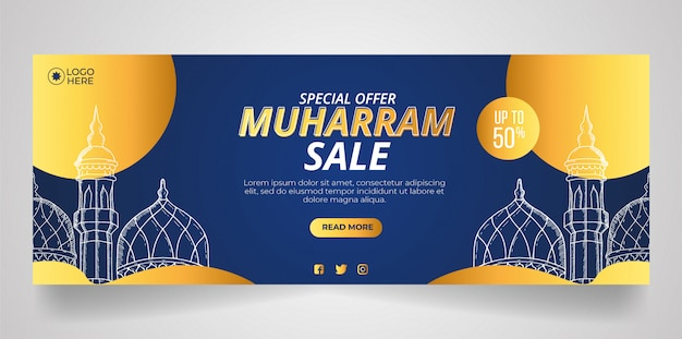 Design del banner di vendita di muharram con un magnifico tema della moschea.