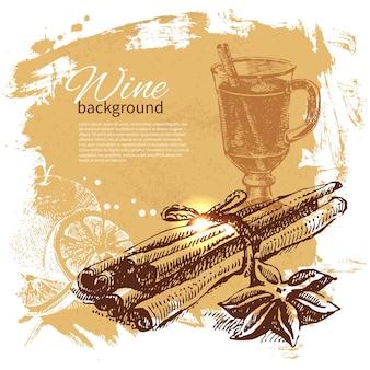 Fondo d'annata sminuzzato. illustrazione disegnata a mano Vettore Premium