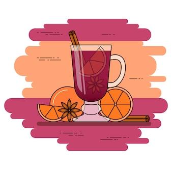 Banner di vin brulè. vino rosso caldo con cannella, arancia, anice stellato. stile di linea piatta. illustrazione vettoriale concetto per autunno, inverno, natale, capodanno, biglietto da visita, volantino di vendita, pubblicità