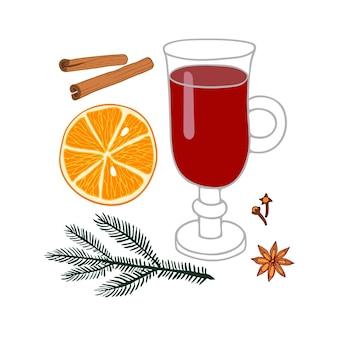Bicchiere da vin brulé bevanda invernale di vino caldo con spezie ricetta vin brulé