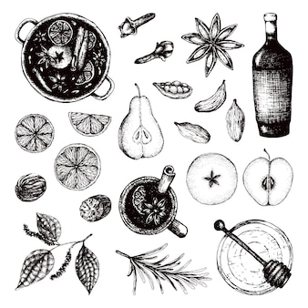Vin brulè buon natale vista dall'alto set bevanda alcolica calda e ingredienti per spezie di vin brulè