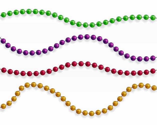 Perline colorate. bellissima catena di diversi colori.