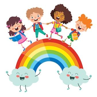 Bambini multietnici che giocano sull'arcobaleno