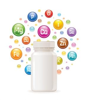 Integratore multivitaminico vitaminico, con minerali in bottiglia vuoti.