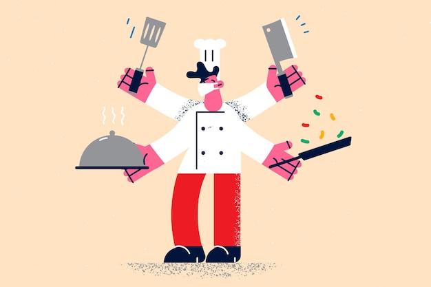 Multi tasking e lavoro come concetto di chef