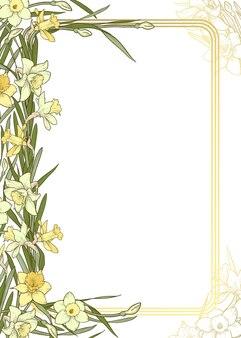 Cornice rettangolare verticale multicolore su sfondo bianco e oro modello di invito