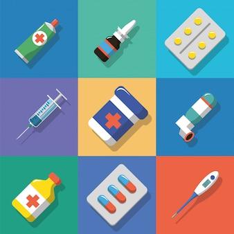 Sfondo multicolore icone di medicina e droghe con ombre. illustrazione vettoriale di stile piano