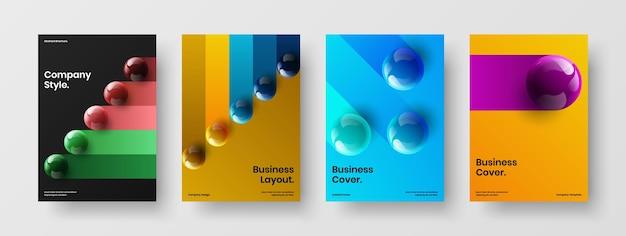 Pacchetto di illustrazioni vettoriali per la progettazione di copertine aziendali multicolore