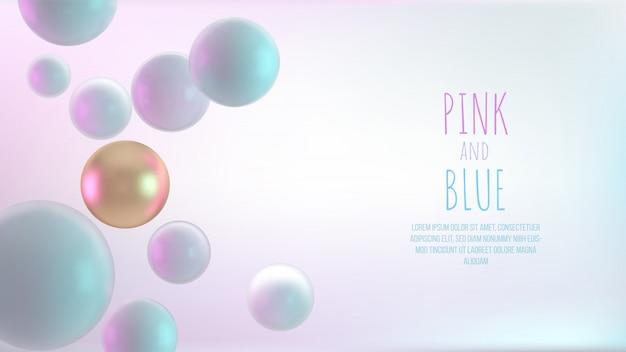 Sfere decorative multicolori. illustrazione realistica astratta 3d. le perle si chiudono in su con profondità di campo