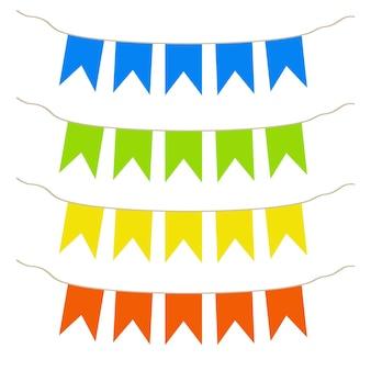 Bandiere multicolori bandiere di festa per bambini illustrazione vettoriale