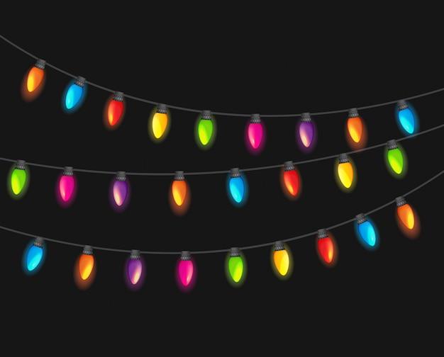 Ghirlanda di lampade multicolore festivo isolato