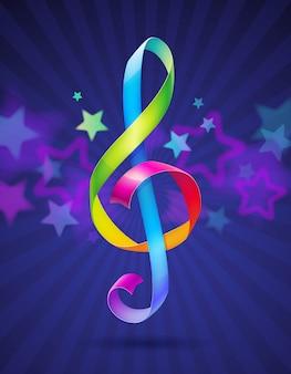 Nastri lucidi multicolori a forma di chiave di violino - illustrazione Vettore Premium