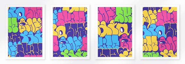 Sfondo di poster di graffiti multicolori con lettere scritte in colori vivaci tag street art