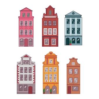 Case multicolori nello stile di amsterdam, praga. insieme di vettore - centro storico europeo. architettura europea. facciate stilizzate di vecchi edifici.