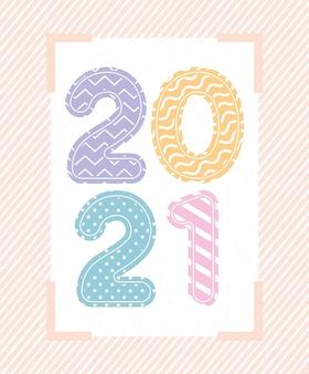 Numero multicolore con linee e punti in cornice di felice anno nuovo