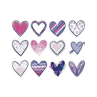Doodles di clip art di forme di cuore scarabocchio disegnato a mano multicolore