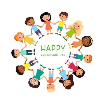 I bambini multiculturali sono in piedi intorno al giorno dell'amicizia o al giorno dei bambini simpatico cartone animato