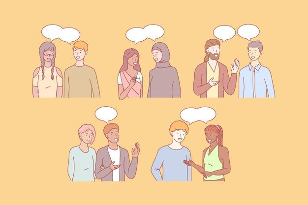 Le persone multiculturali comunicano insieme