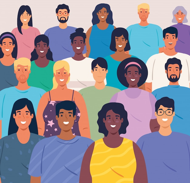 Grande gruppo multietnico di persone insieme, diversità e concetto di multiculturalismo