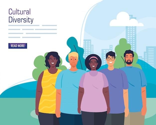 Gruppo multietnico di persone insieme nella progettazione dell'illustrazione di vettore di concetto di paesaggio urbano, culturale e di diversità