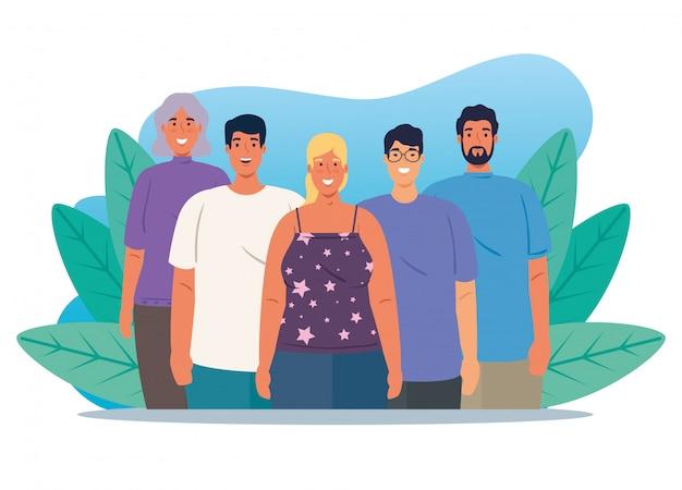 Gruppo multietnico di persone insieme nella scena della natura, la diversità delle donne e degli uomini e il concetto di multiculturalismo
