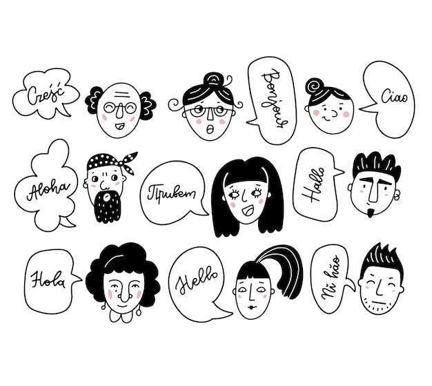 Uomini e donne multietnici che salutano in lingue diverse persone diverse